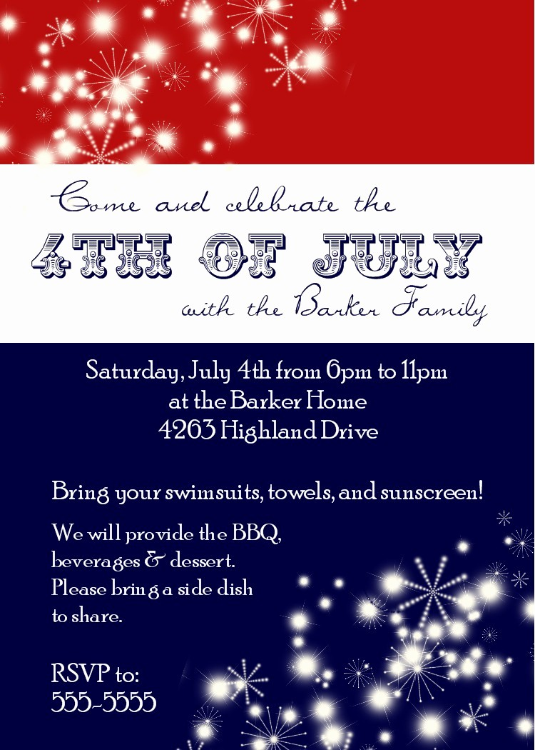 Fourth Of July Party Invitations Inspirational Bear River Greetings 4th Of July Party Invitation