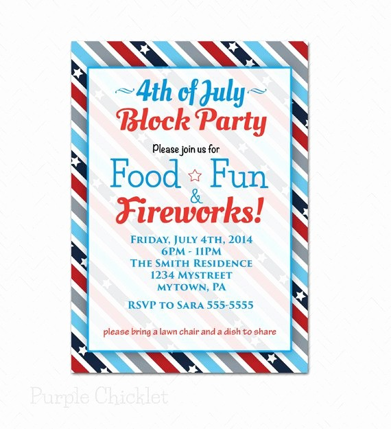 Fourth Of July Party Invitations Inspirational Block Party 4th Of July Invitation Patriotic Red by