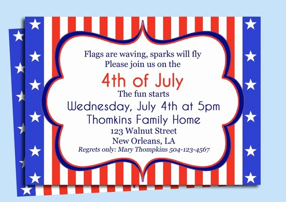 Fourth Of July Party Invitations Inspirational Fourth Of July Invitation Printable or Printed with Free