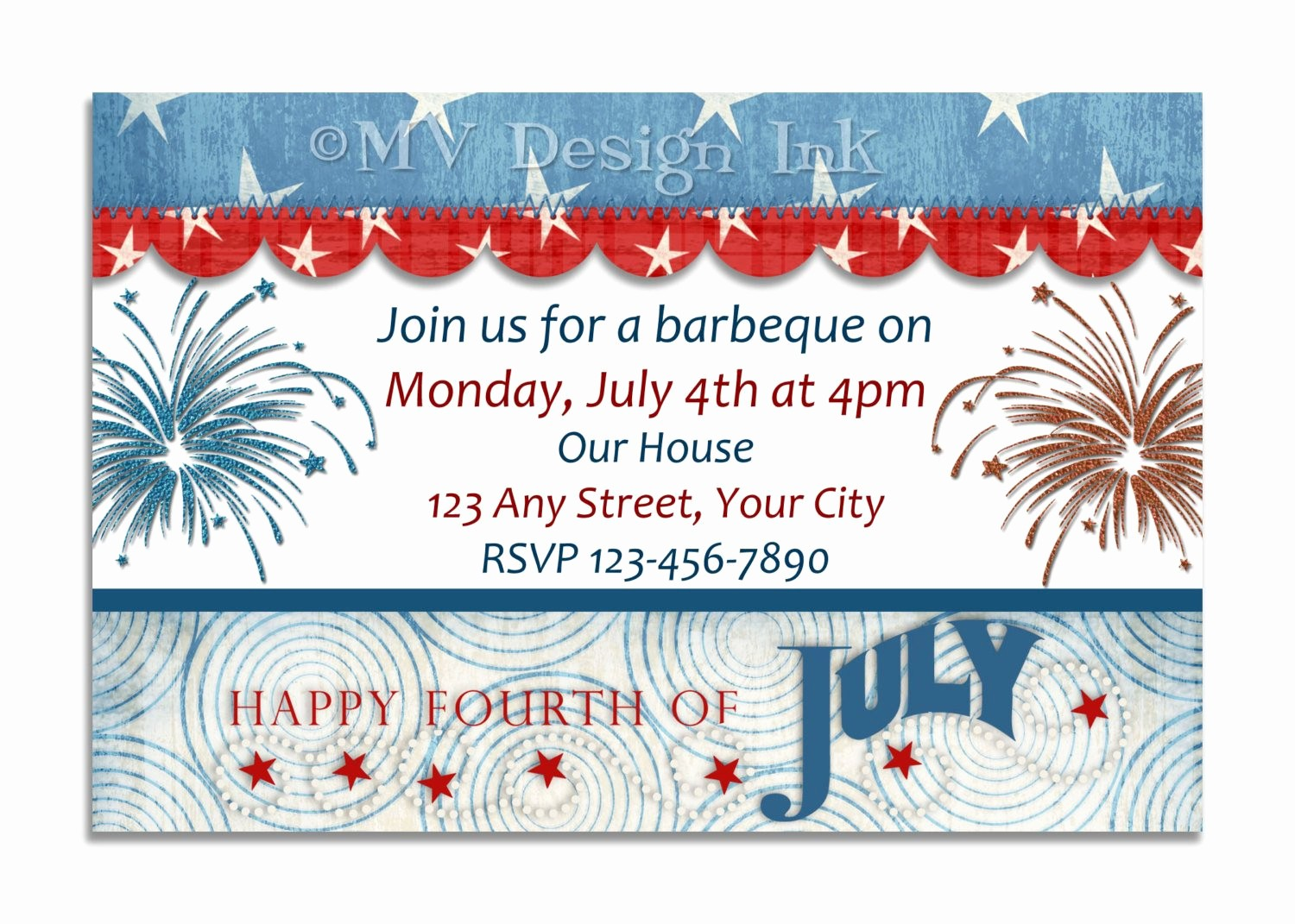 Fourth Of July Party Invitations Inspirational Red White and Blue Invitations 4th Of July Birthday