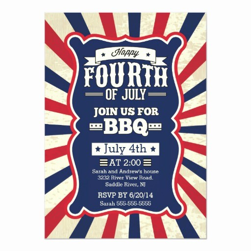 Fourth Of July Party Invitations Inspirational Vintage Stripe 4th Of July Party 5x7 Paper Invitation Card