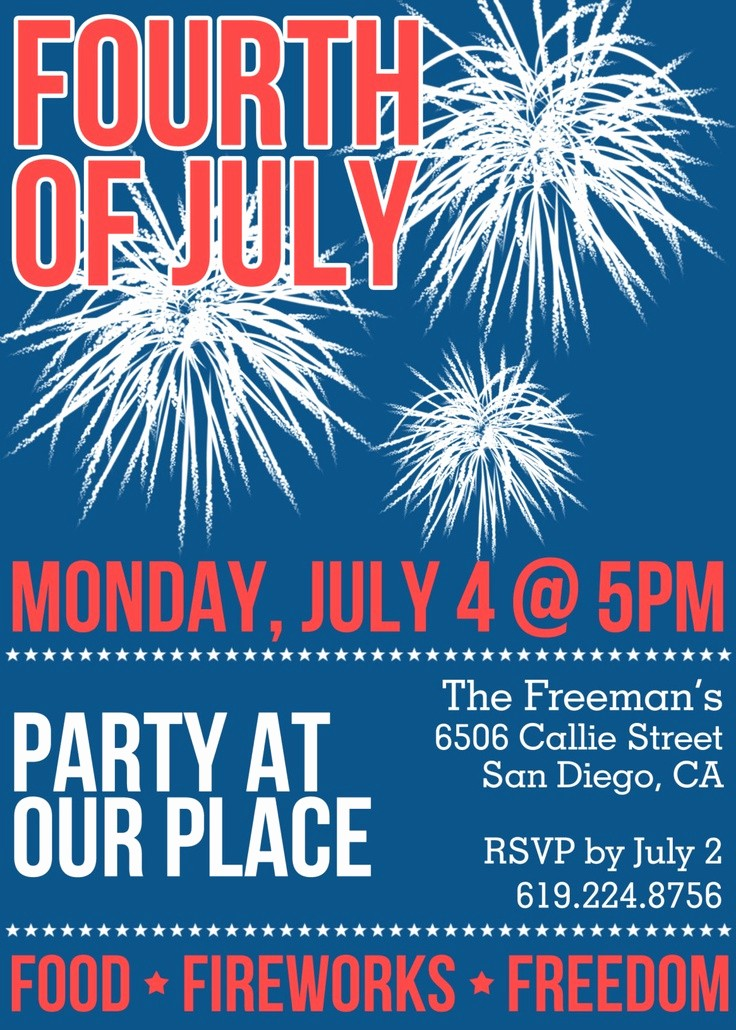 Fourth Of July Party Invitations Luxury Fourth Of July Party Invitation Printable or Printed for You