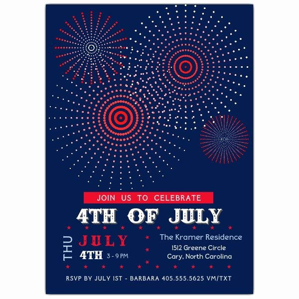 Fourth Of July Party Invitations New Fire Works Fourth Of July Party Invitations