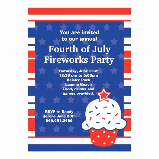 """Fourth Of July Party Invitations Unique Fourth Of July Party Invitation 5"""" X 7"""" Invitation Card"""