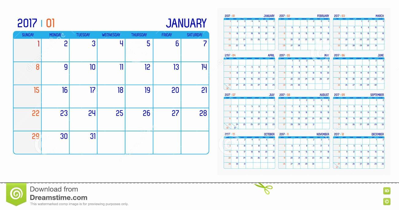 Free 12 Month Calendar 2017 Beautiful Vector Calendar 2017 Year 12 Month Calendar with