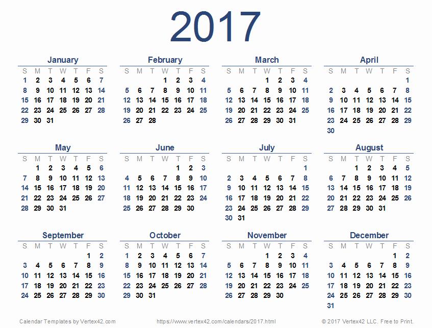 Free 12 Month Calendar 2017 Elegant 2017 Calendar Templates and