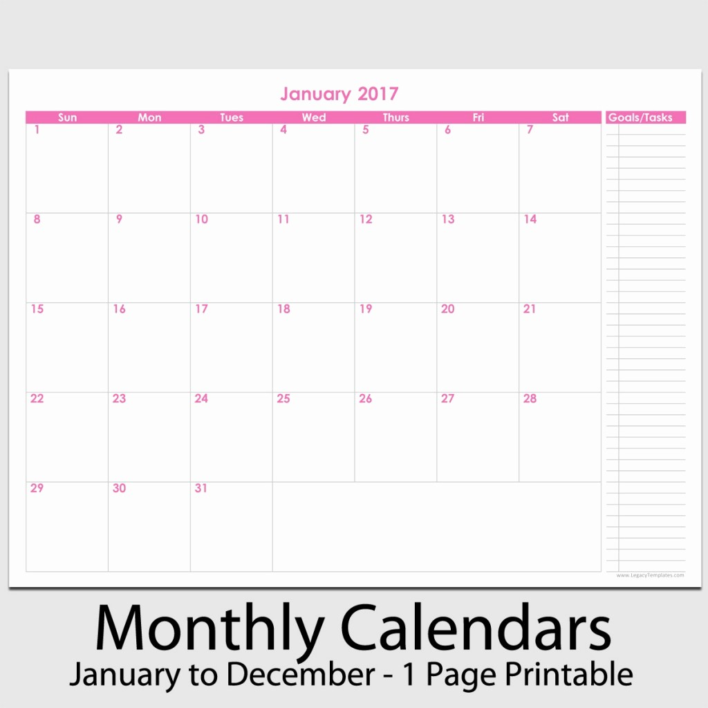 "Free 12 Month Calendar 2017 Fresh 2017 12 Month Calendar with Tasks 8 1 2"" X 11"