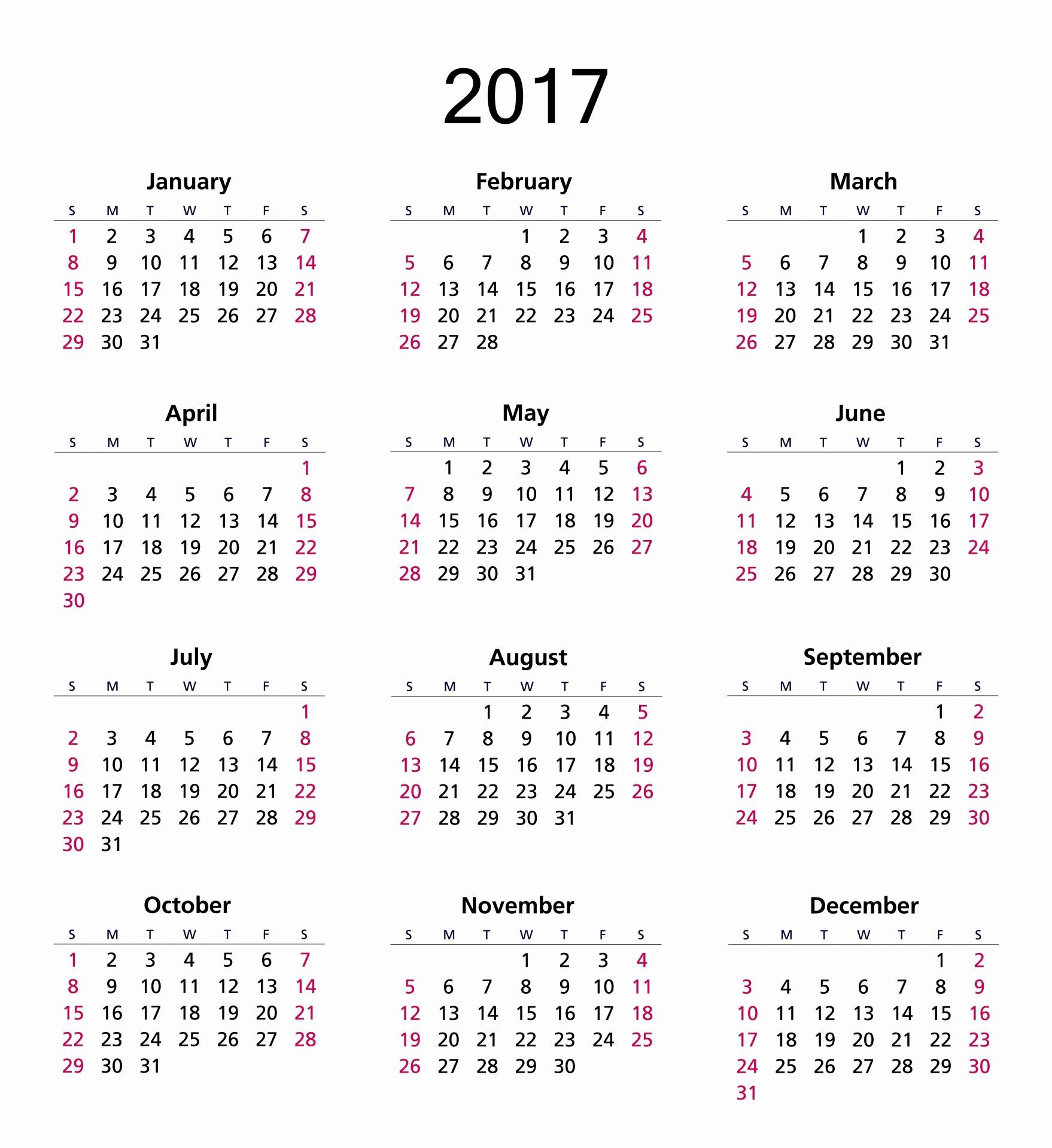 Free 12 Month Calendar 2017 Fresh 2017 Calendar Free Stock Public Domain