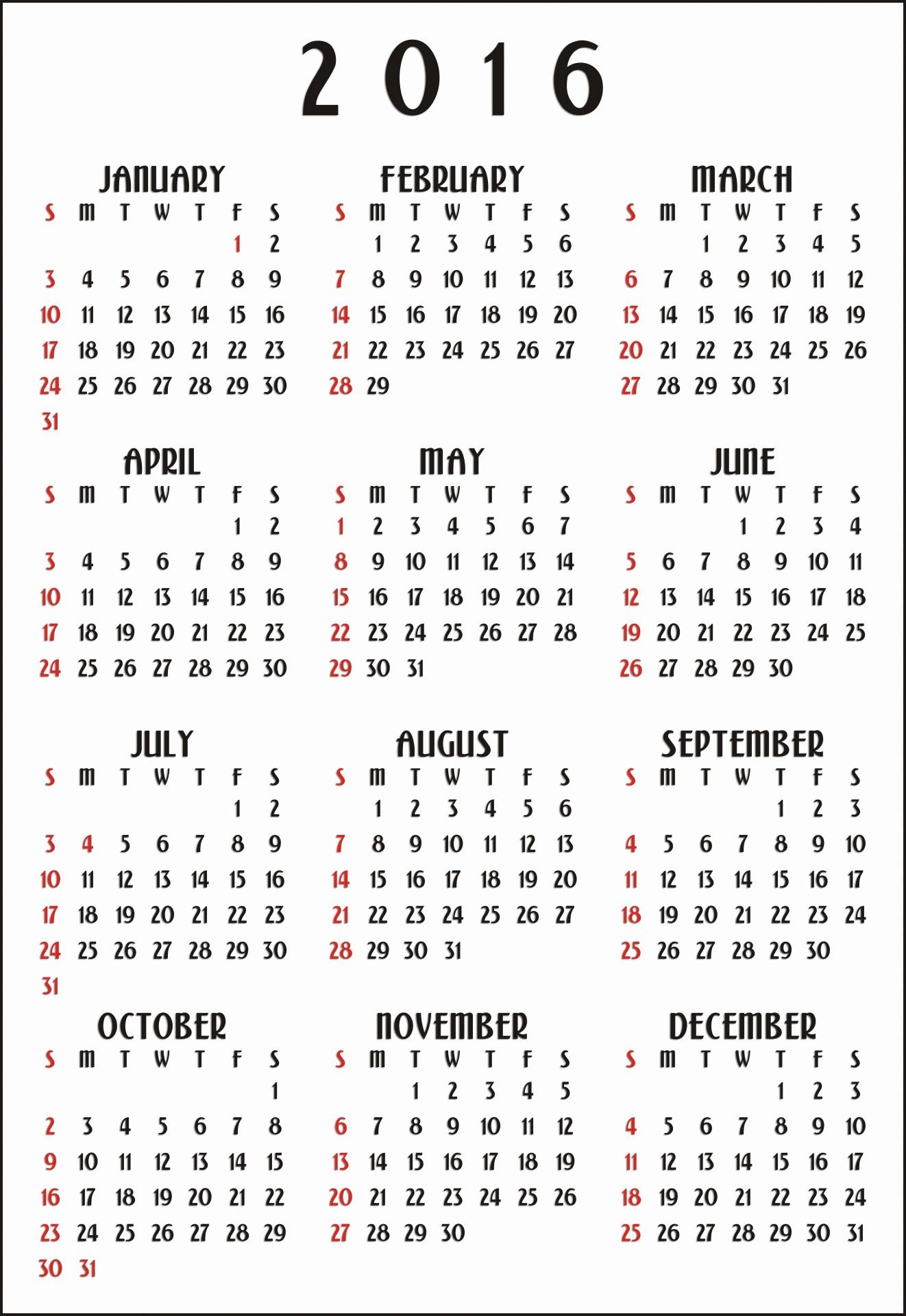 Free 12 Month Calendar 2017 Inspirational 12 Month Calendar 2016 Vertical Free Stock Public