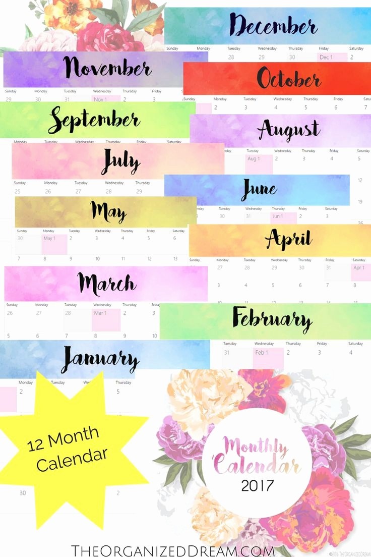 Free 12 Month Calendar 2017 Inspirational 8 Best Images About Planner On Pinterest
