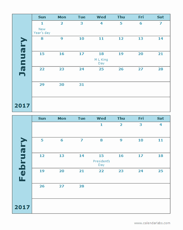 Free 12 Month Calendar 2017 Lovely Free 2 Month Calendar Template