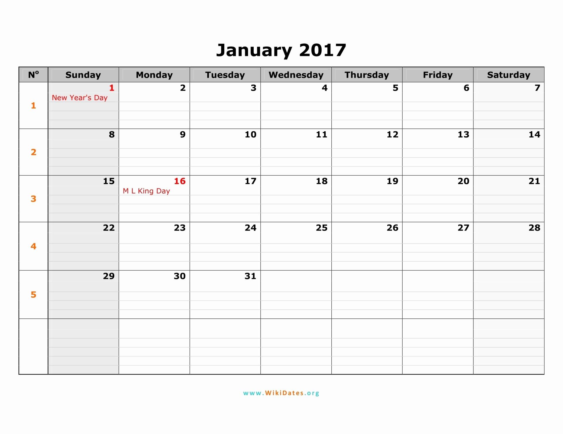 Free 12 Month Calendar 2017 Luxury 2017 Calendar