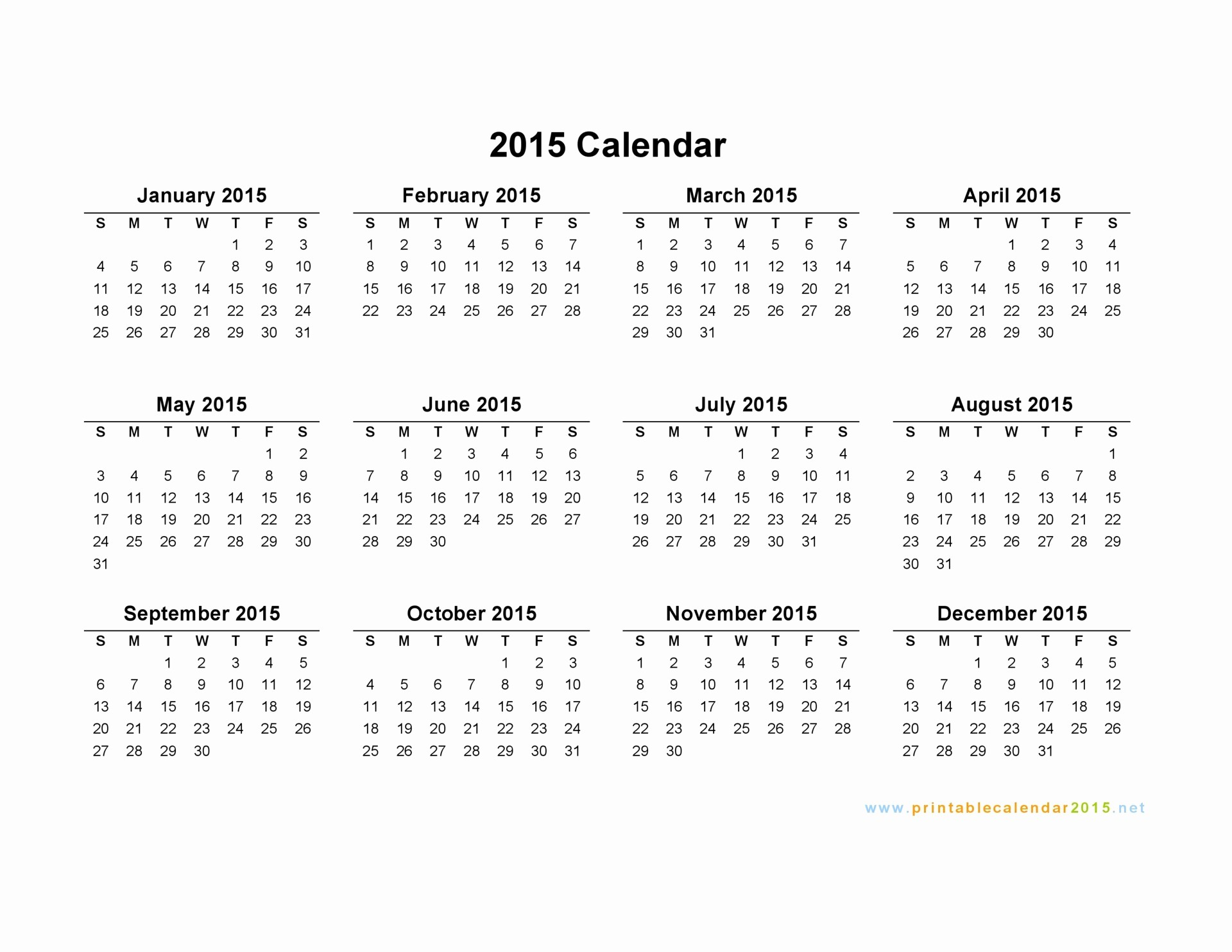Free 2015 Yearly Calendar Template Awesome Free Printable Calendar 2015 Monthly – 2017 Printable Calendar
