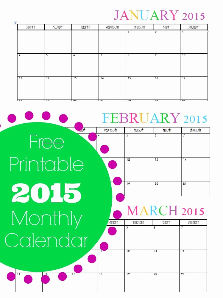 Free 2015 Yearly Calendar Template Beautiful Free Printable Monthly 2015 Calendar