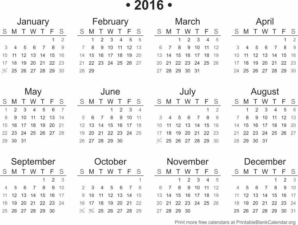 Free 2015 Yearly Calendar Template Best Of 2016 Printable Calendar Printable Blank Calendar