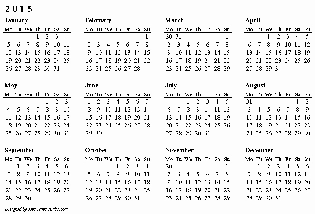 Free 2015 Yearly Calendar Template Inspirational Calendar 2015 Free Printable Calendars and Planners