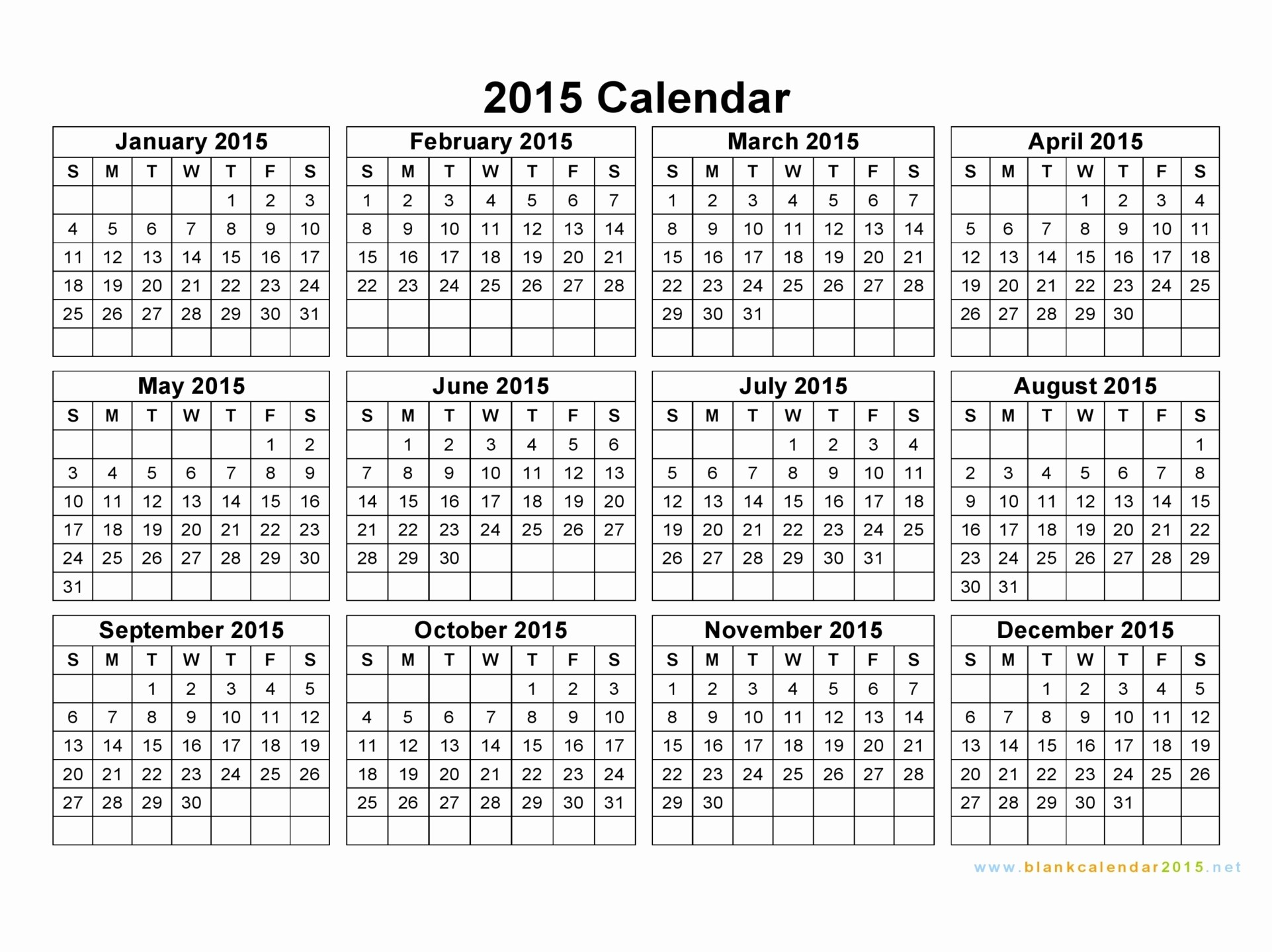 Free 2015 Yearly Calendar Template Inspirational Free Printable Yearly Calendar 2015 – 2017 Printable Calendar