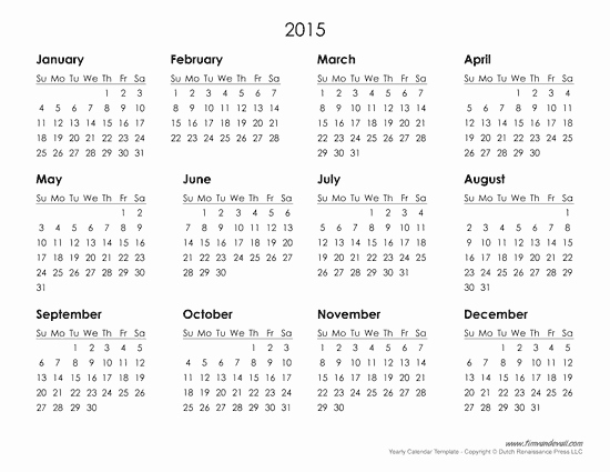Free 2015 Yearly Calendar Template Inspirational Printable 2015 Calendar Yangah solen