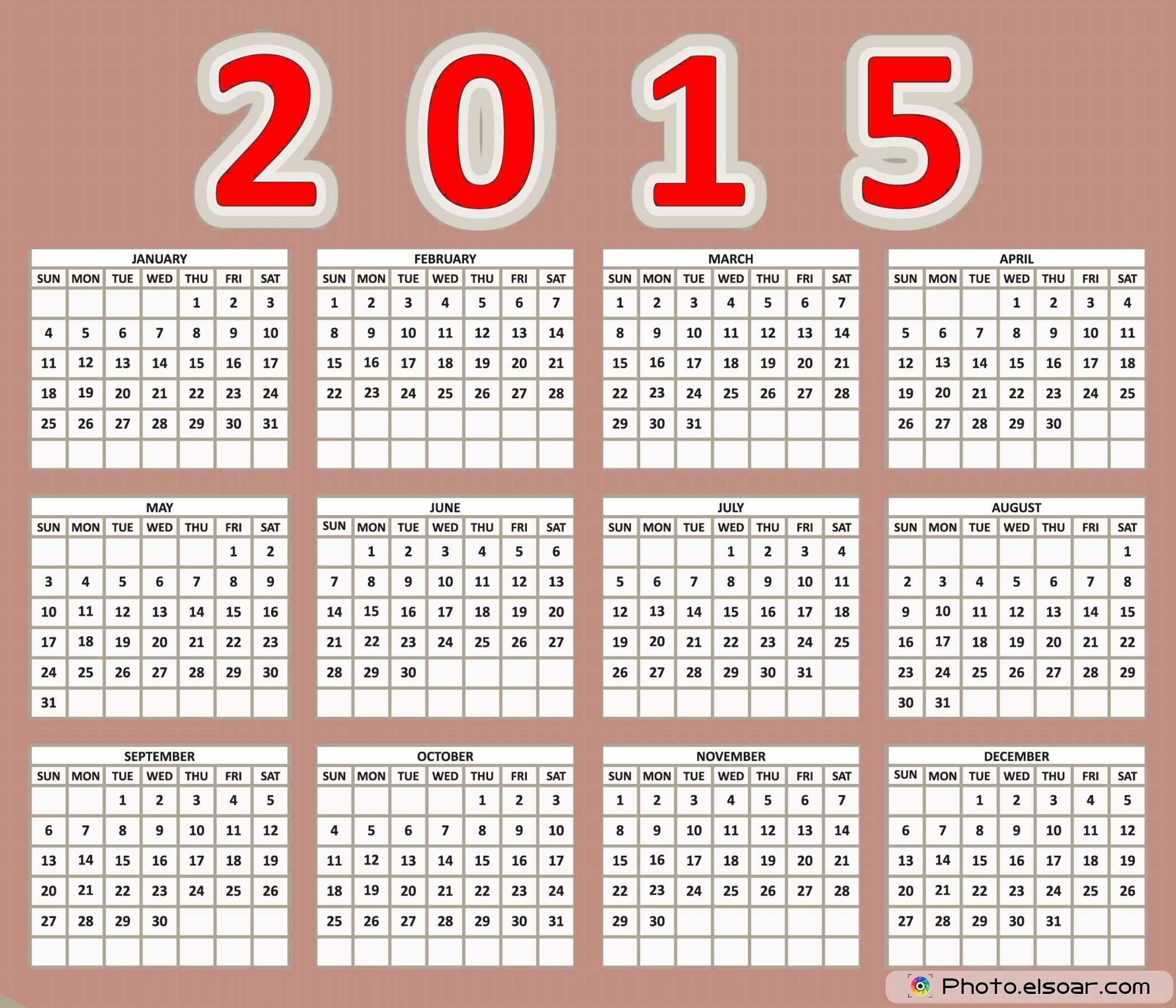 Free 2015 Yearly Calendar Template Inspirational Yearly Calendar 2015 Free Printable – 2017 Printable Calendar