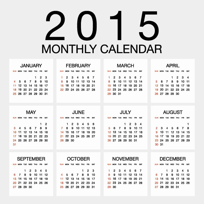Free 2015 Yearly Calendar Template Inspirational Yearly Calendar 2015 – Templates Free Printable