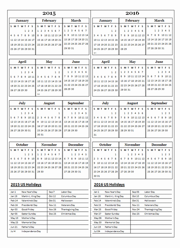 Free 2015 Yearly Calendar Template Lovely 2015 Two Year Calendar Free Printable Templates