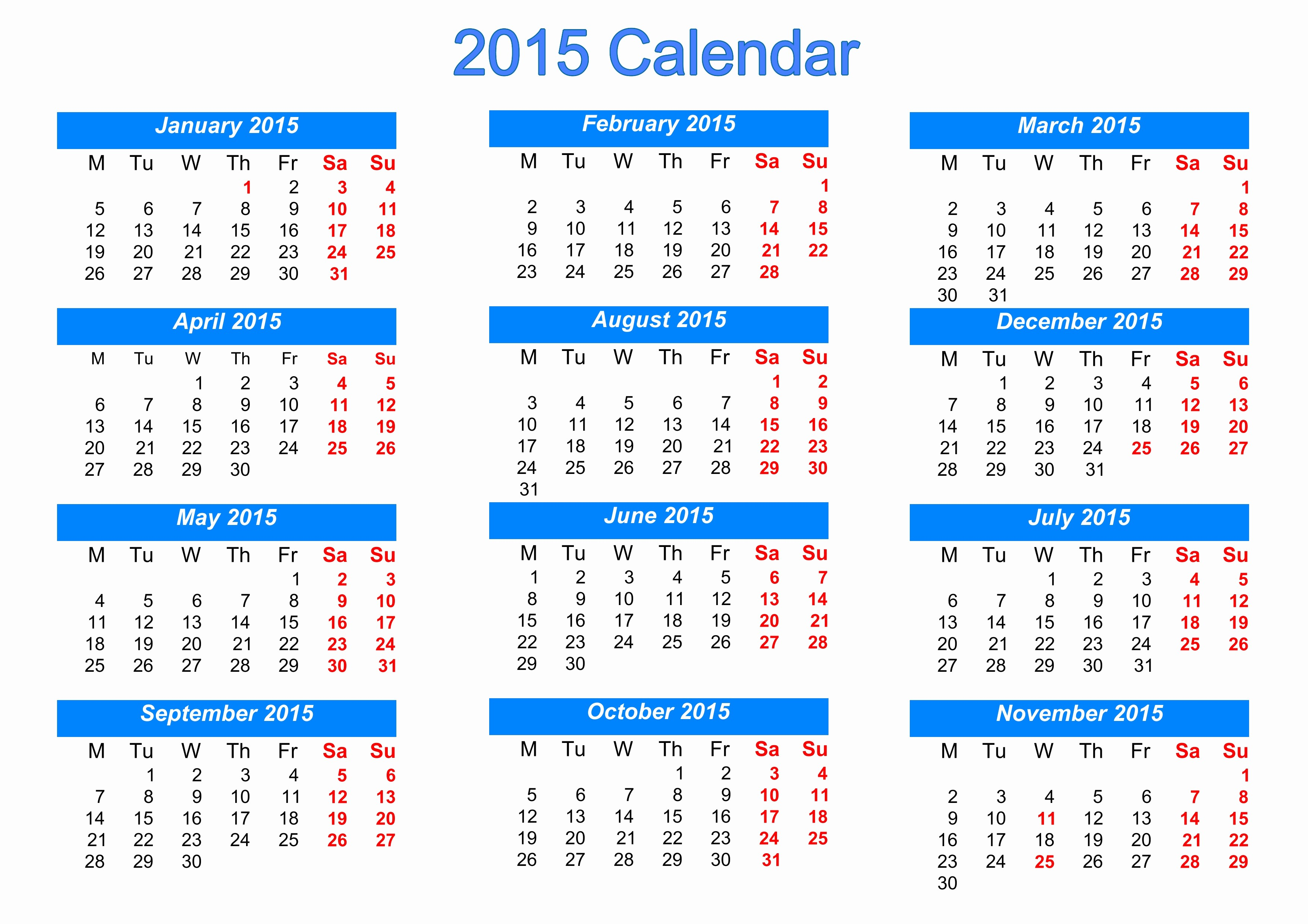 Free 2015 Yearly Calendar Template Lovely Calendar 2015 Template Free – 2017 Printable Calendar