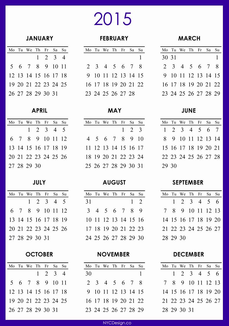 Free 2015 Yearly Calendar Template Lovely Printable 2015 Calendar