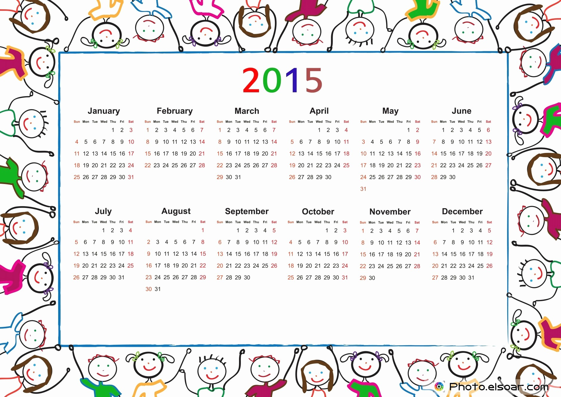 Free 2015 Yearly Calendar Template New Free 2015 Printable Calendar for Kids Elsoar