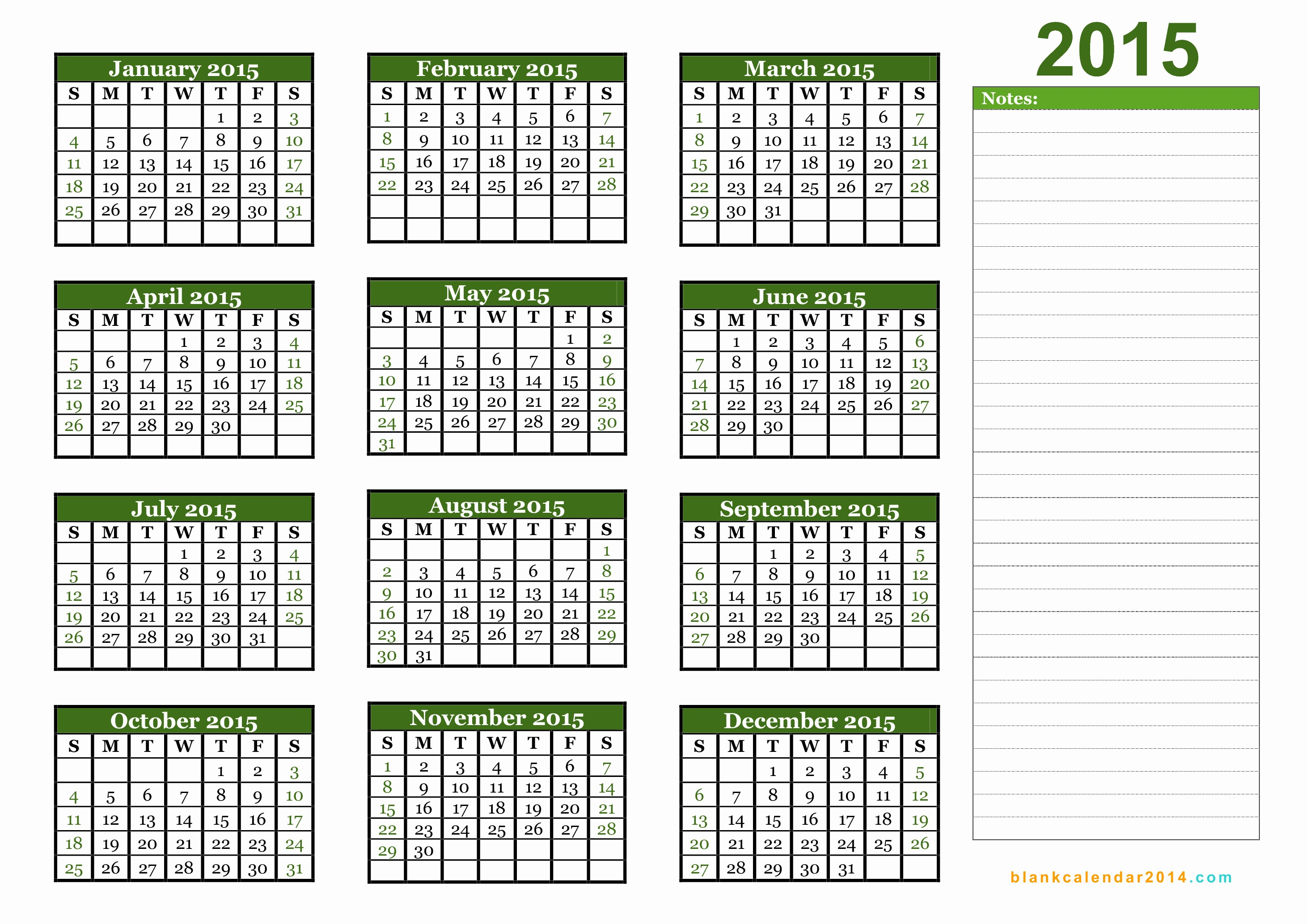 Free 2015 Yearly Calendar Template Unique 5 Best Of 2015 Yearly Calendar Printable 2015
