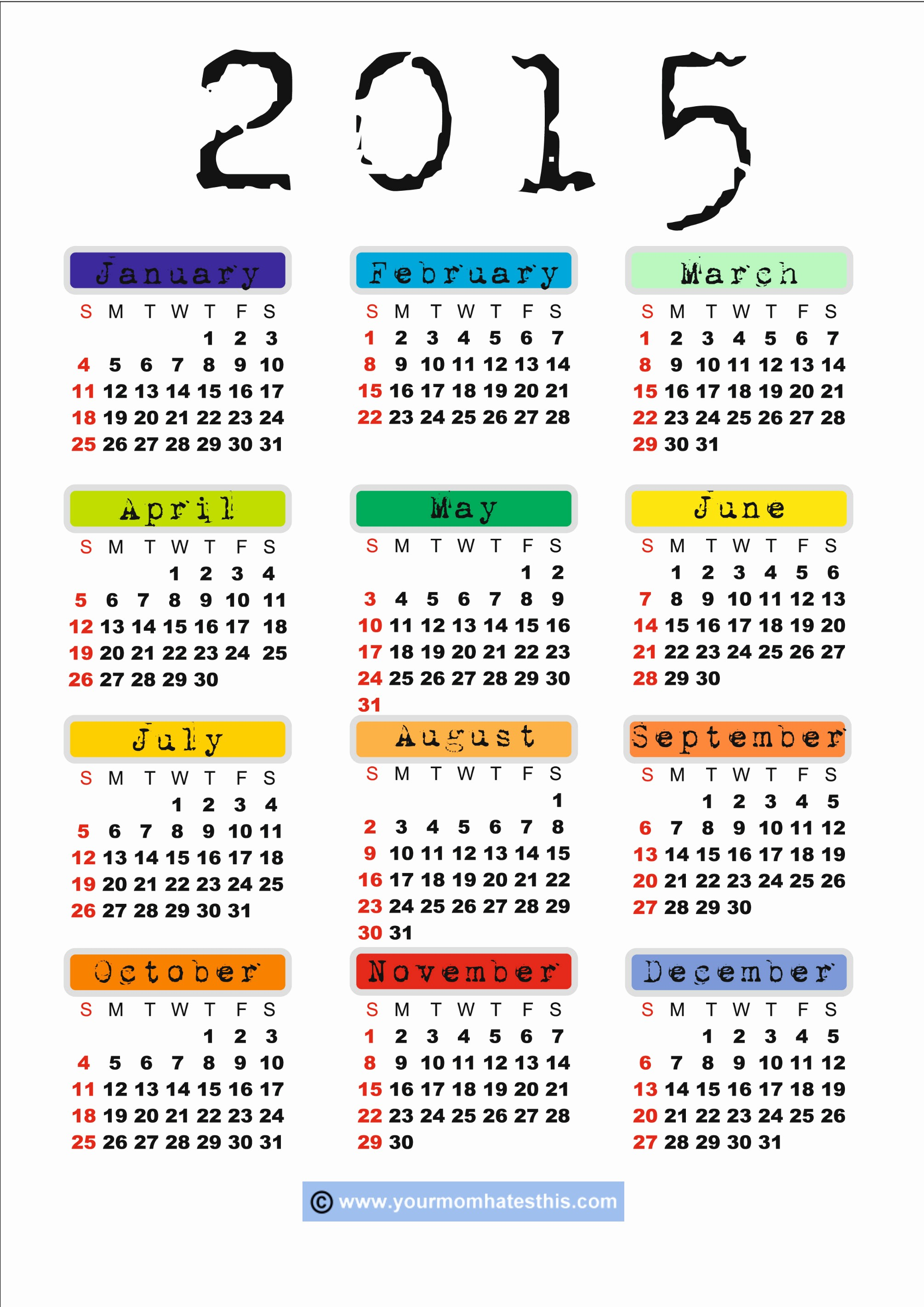 Free 2015 Yearly Calendar Template Unique Calendar 2015 Letters & Maps