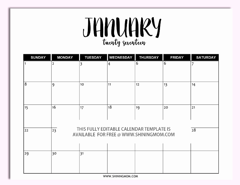 Free 2017 Printable Calendar Word Awesome Free Printable Fully Editable 2017 Calendar Templates In