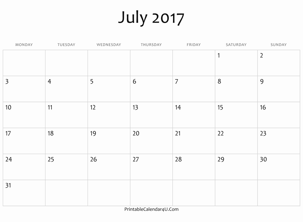 Free 2017 Printable Calendar Word Beautiful Blank July Calendar 2017 Ms Word Free Printable 2017