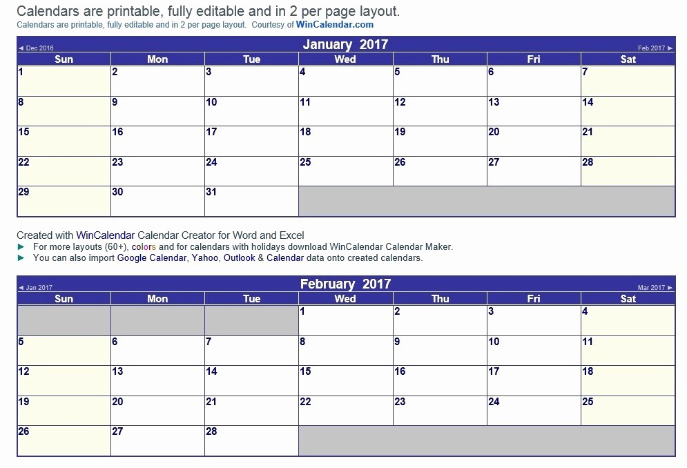 Free 2017 Printable Calendar Word Best Of 9 Free Sample Calendar Templates for 2017 Printable Samples