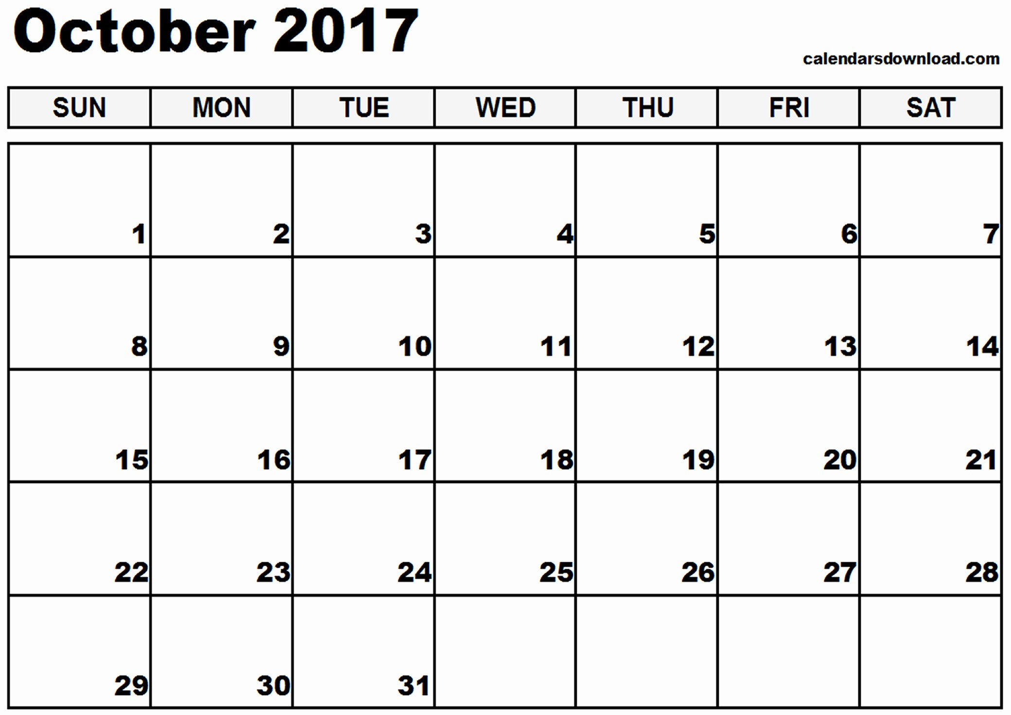 Free 2017 Printable Calendar Word Lovely October 2017 Calendar