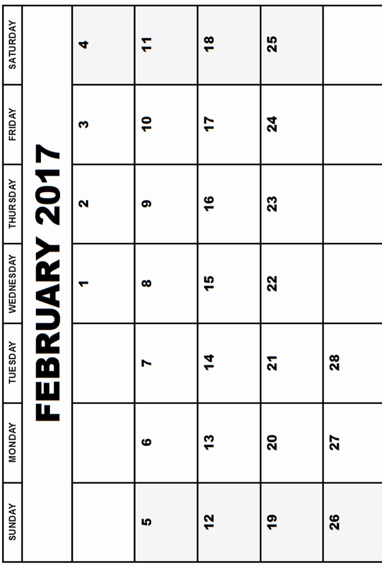 Free 2017 Printable Calendar Word Luxury Printable February 2017 Calendar Word Calendar and