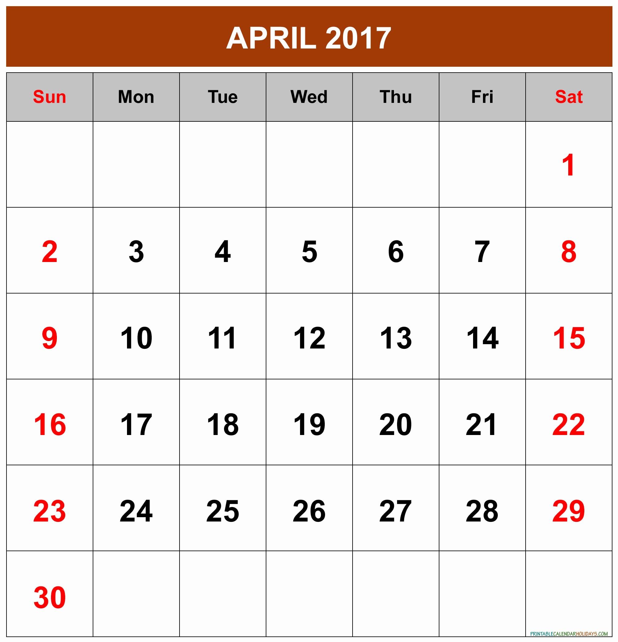 Free 2017 Printable Calendar Word New April 2017 Calendar Word