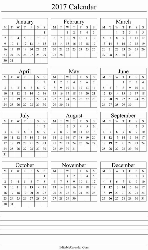 Free 2017 Yearly Calendar Template Awesome Yearly Calendar 2017 Printable Template