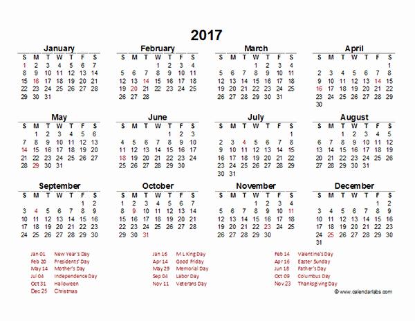 Free 2017 Yearly Calendar Template Beautiful 2017 Yearly Calendar Template Excel Free Printable Templates