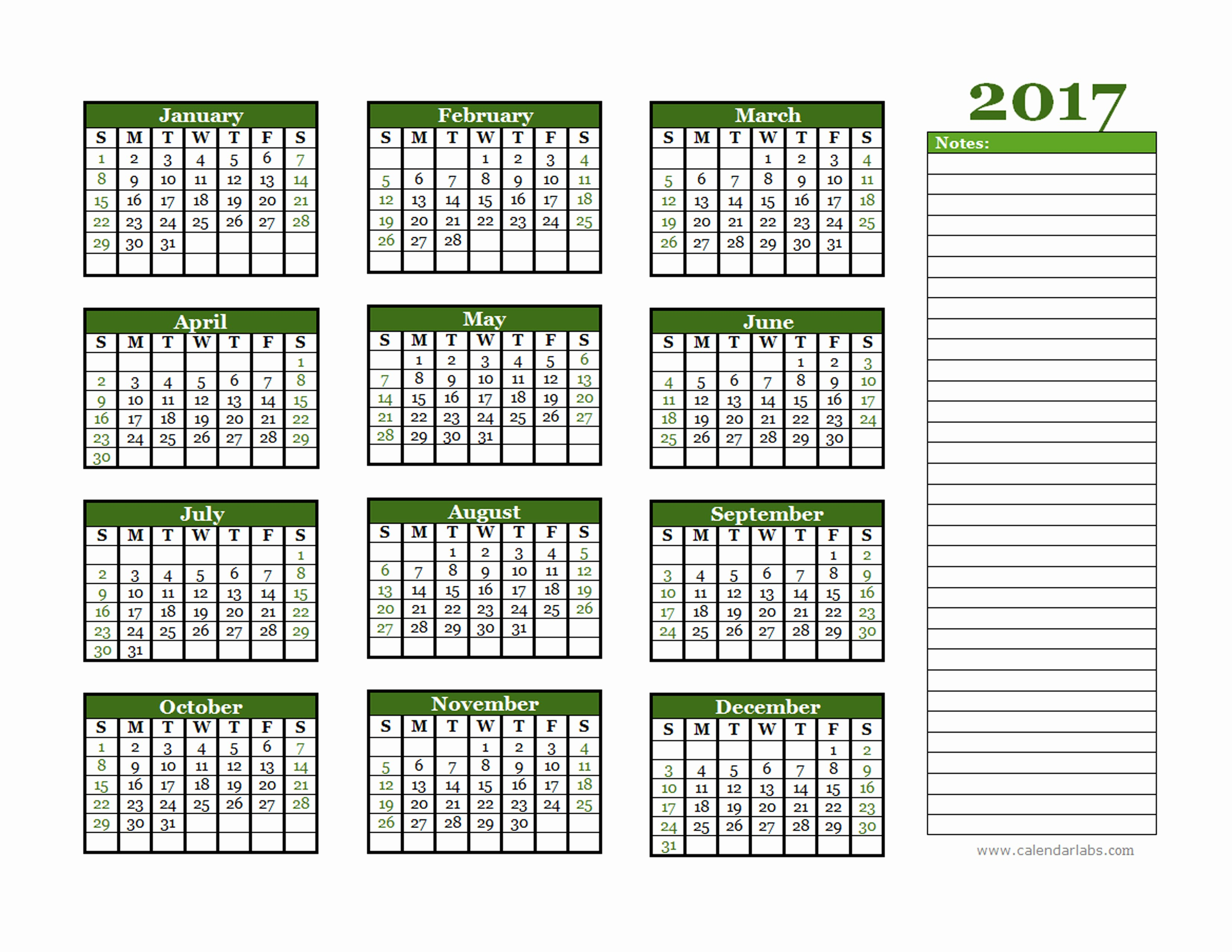 Free 2017 Yearly Calendar Template Best Of 2017 Yearly Calendar with Blank Notes Free Printable
