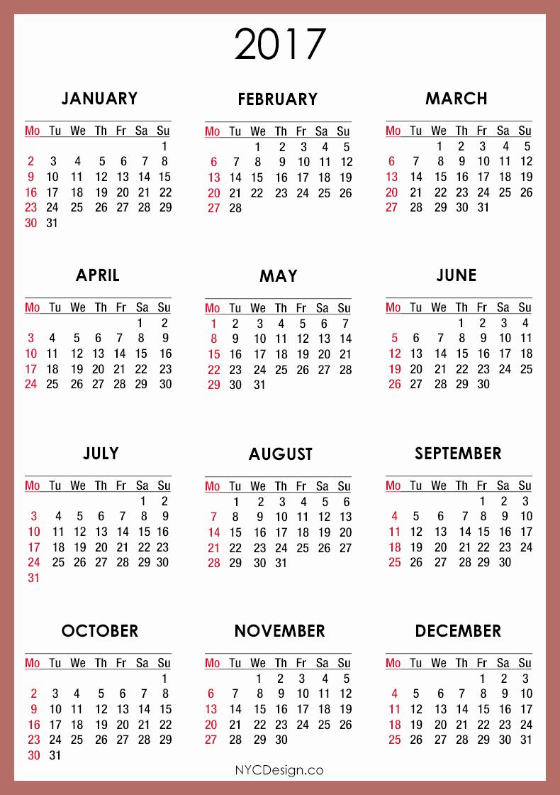 Free 2017 Yearly Calendar Template Elegant 2017 Calendar Printable – 2017 Printable Calendar