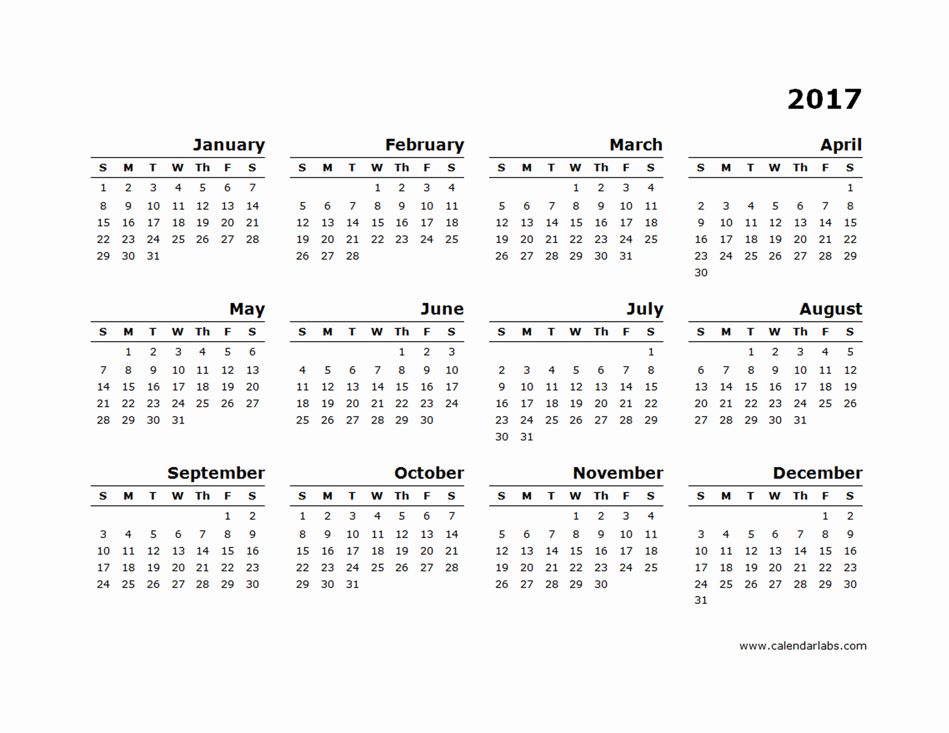 Free 2017 Yearly Calendar Template Elegant 2017 Yearly Calendar Blank Minimal Design Free Printable