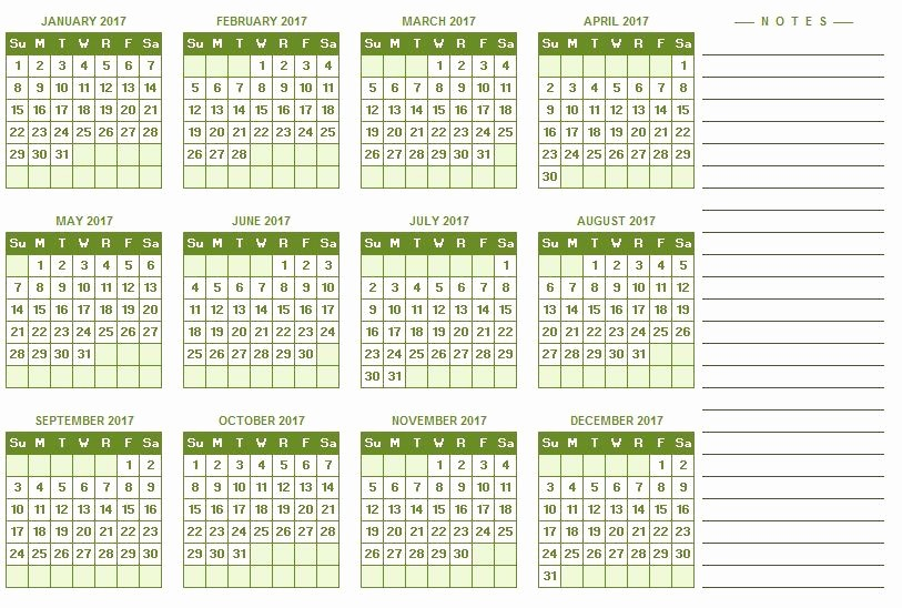 Free 2017 Yearly Calendar Template Elegant 2017 Yearly Calendar Excel