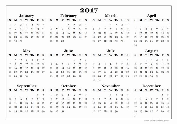 Free 2017 Yearly Calendar Template Elegant Blank 2017 Calendar