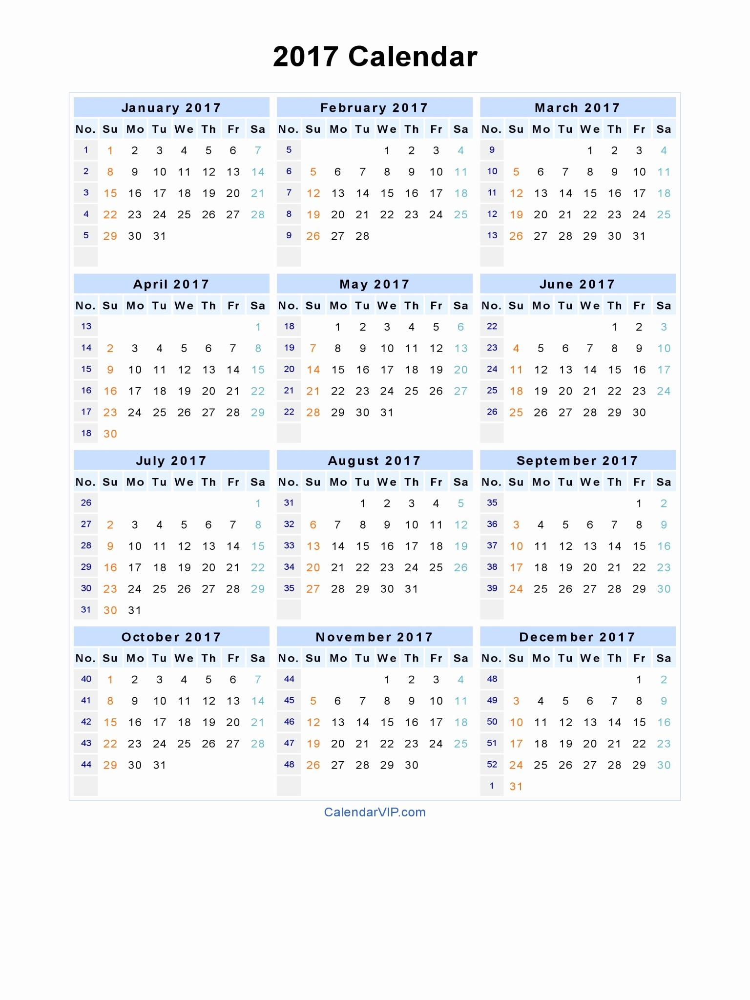 Free 2017 Yearly Calendar Template Inspirational 2017 Printable Calendar Word