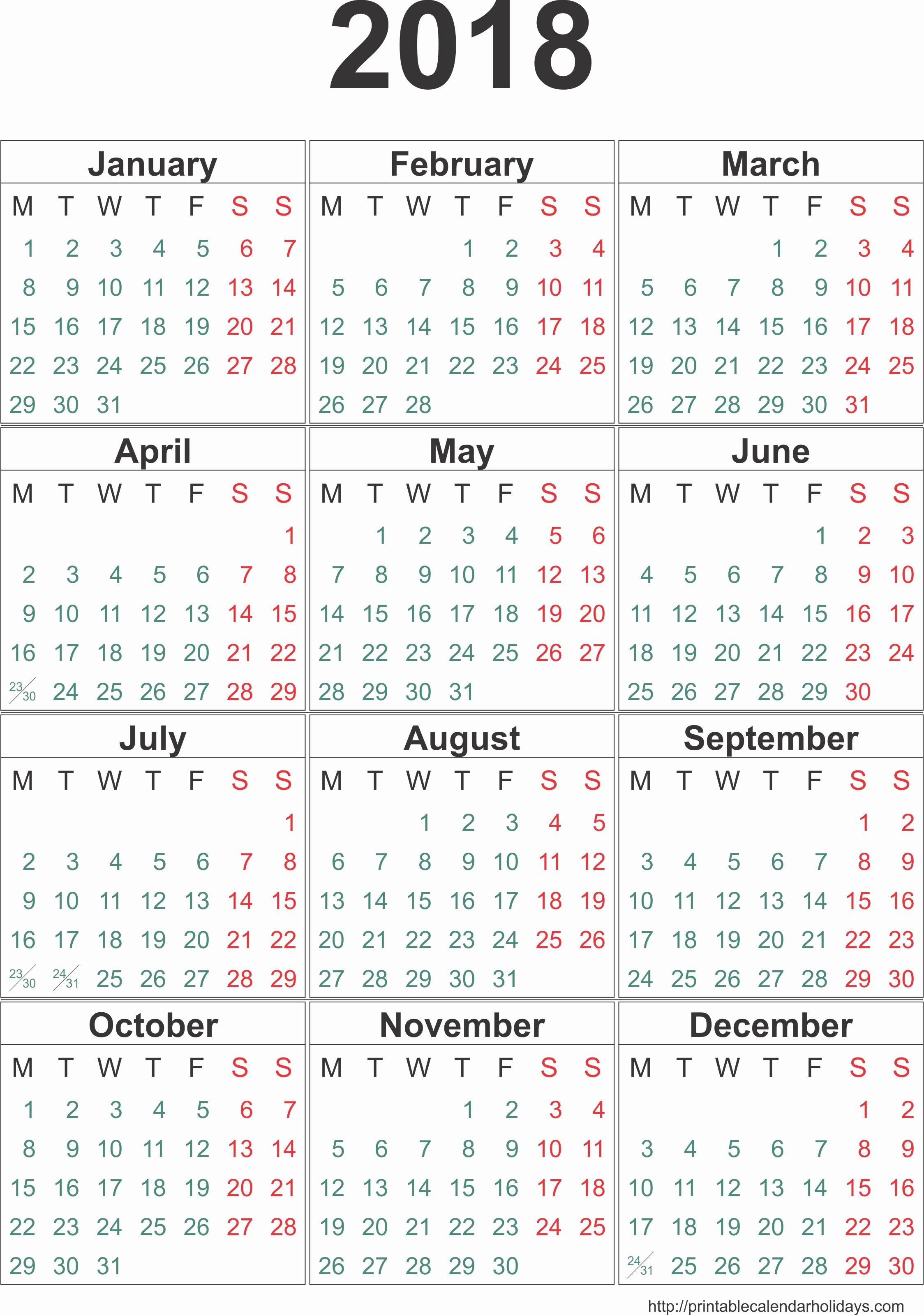 Free 2017 Yearly Calendar Template Inspirational 2018 Calendar
