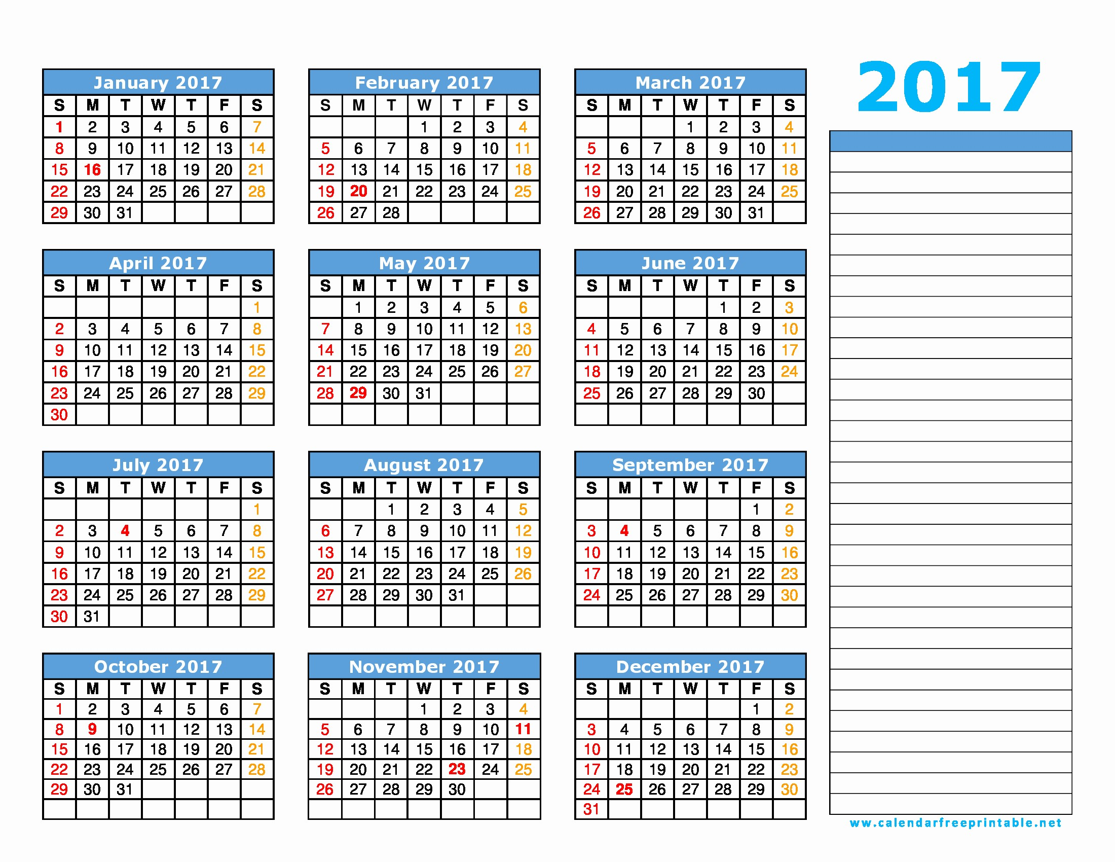 Free 2017 Yearly Calendar Template Lovely Free Calendar Template 2017