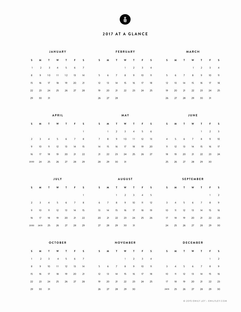 Free 2017 Yearly Calendar Template Lovely the Best Free 2017 Printable Calendars Fat Mum Slim