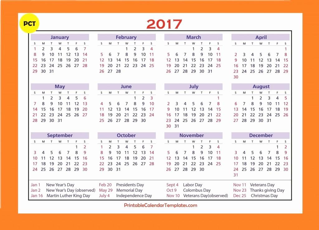 Free 2017 Yearly Calendar Template Luxury Free Printable Calendar 2017