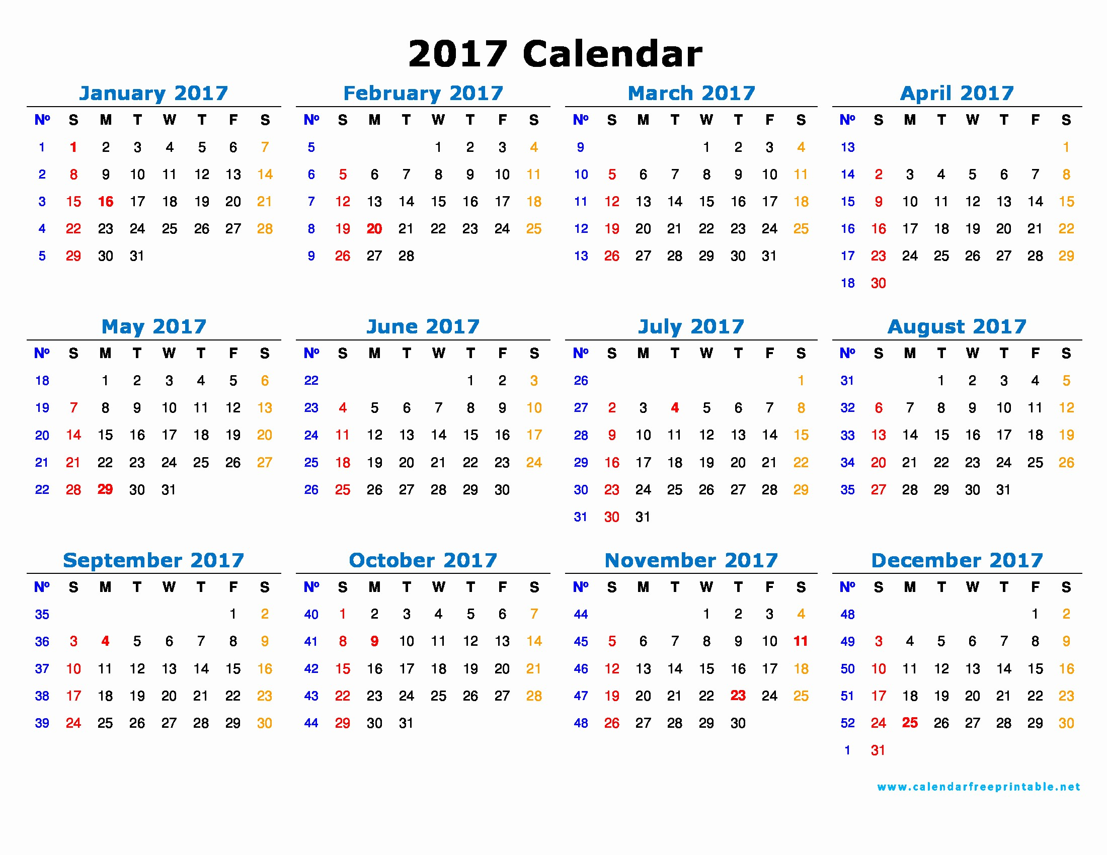 Free 2017 Yearly Calendar Template New 2017 Calendar Printable