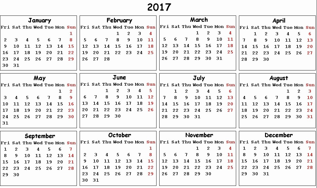Free 2017 Yearly Calendar Template New 2017 Printable Calendar Pdf Calendar Template 2018